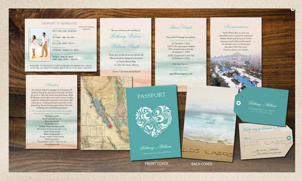 Passport Wedding Booklets | Cabo San Lucas | Luggage Tag | Turquoise Teal | Love Heart | Destination Weddings | Mexico | Punta Cana - idowithyouweds
