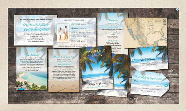 Passport Wedding Invitations Booklets for Destination Weddings | Luggage Tag Rsvp Cards | Bright Blue Caribbean | Lush Tropical Palm Trees - idowithyouweds