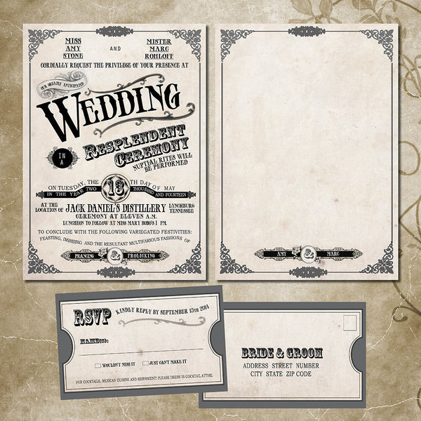 Rustic Country Fair Local Wedding Invitation | Vintage Keepsake Invite | Modern Western | Antique Fonts - idowithyouweds