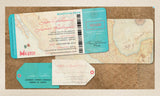 Wedding Boarding Pass Map Invitations | Destination Travel Weddings | Mexico Riviera Cabo Jamaica Caribbean Maps - idowithyouweds