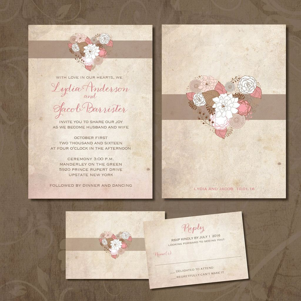 vintage heart local wedding invitation set cottage chic pale blush