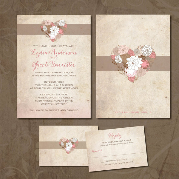 Vintage Heart Local Wedding Invitation Set | Cottage Chic Pale Blush Pink & Tan | Pastel Delicate Flowers | Distressed Paper| Affordable Invites