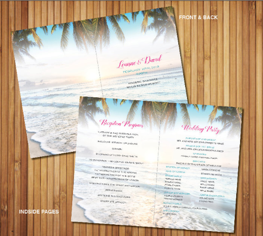 Wedding Program Beach Destination Folded Itinerary | Wedding Events Timelines | Bridal Party - idowithyouweds
