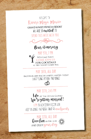Wedding Program Itinerary Schedule | Custom Colors Fonts Icons | Welcome Wedding Cards - idowithyouweds