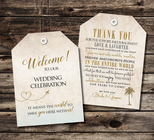 Wedding Welcome Luggage Tags | Thank You Message | Vintage Gold Antique - idowithyouweds