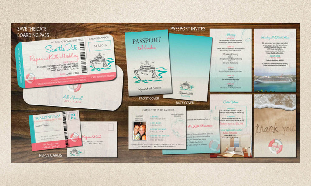 cruise wedding invitation set all aboard save the date boarding pass passport booklets - Cruise Wedding Invitations