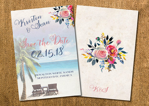 Save the Date Luggage Tag Boho, Destination Wedding Announcement, Rose Gold Navy Blush - idowithyouweds