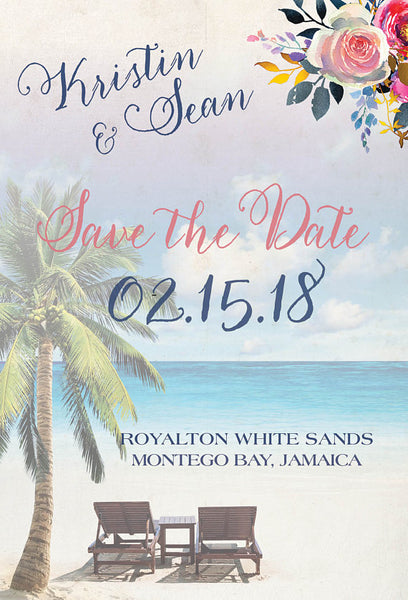 Save the Date Luggage Tag Boho, Destination Wedding Announcement, Rose Gold Navy Blush, Mexico Jamaica Punta Cana Fiji
