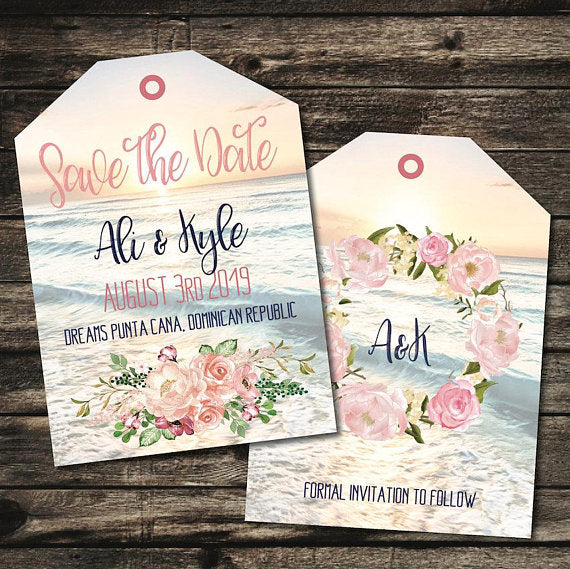 Boho Save the Date Luggage Tags, Destination Wedding Announcement, We're Getting Married