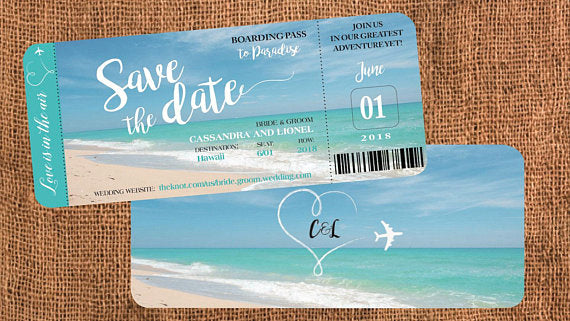 Wedding Boarding Pass Invitations or Save the Dates, Turquoise Blue Travel - idowithyouweds