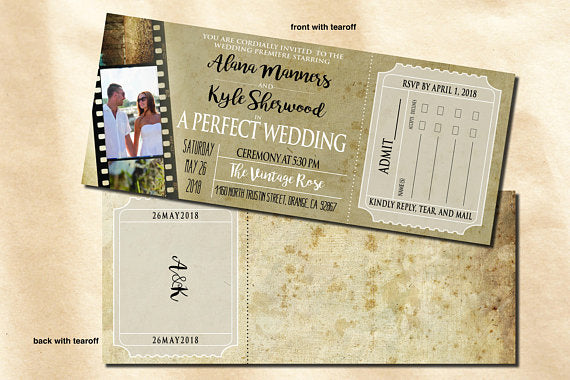 Movie Ticket Wedding Invitation with Tear Off Reply Card - idowithyouweds