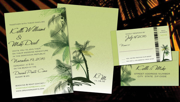 Destination Tropical Palm Wedding Invitations | Bright Mint Lime Cream | Boarding Pass Reply | Affordable Smart Design - idowithyouweds