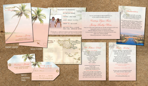 Passport Wedding Invitations in Blush Soft Coral | Destination Wedding Mexico Punta Cana Jamaica Cabo Hawaii | Vintage Cottage Chic - idowithyouweds