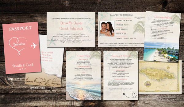 Passport Destination Wedding Invitations | Heart Plane Creative | Coral Peach Blush | Jamaica Mexico Cabo Dominican | Itinerary Travel - idowithyouweds