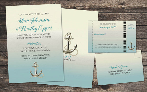 Cruise Destination Wedding Invitation Set with Reply Boarding Passes | Anchors Away | Teal Aqua Ocean Blue - idowithyouweds