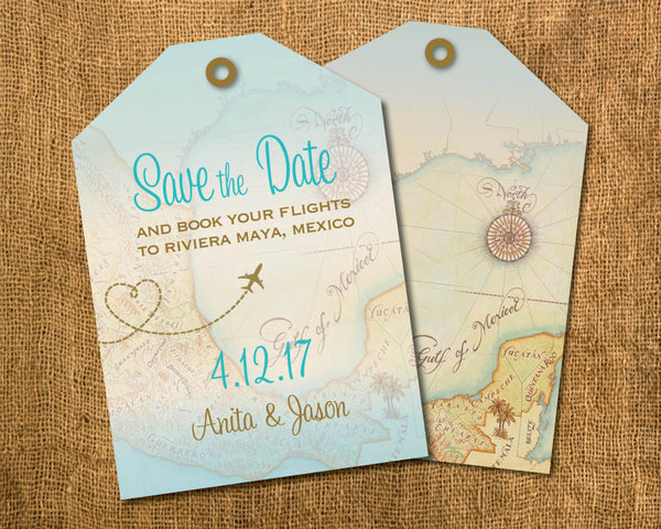 Luggage Tag with Map Save the Date | Vintage Style Gold Aqua Blue | Vintage Map Resorts in Mexico Punta Cana Cabo Jamaica - idowithyouweds