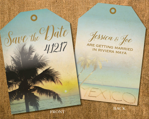 Beach Style Save the Dates Luggage Tag Tickets | Palms Sunset Beach | Retro Antique Vintage | Maya Riviera Jamaica Cabo Dominican - idowithyouweds