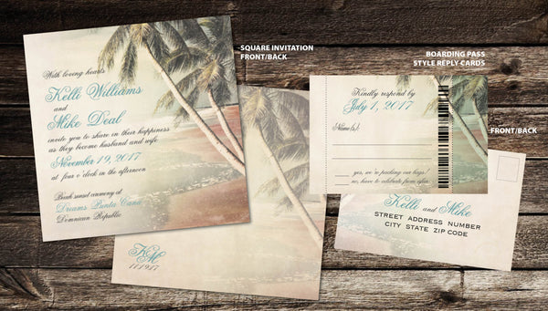 Antique Destination Square Wedding Invitations | Palm Trees Beach | Retro Aged Vintage Distressed | Boarding Pass Ticket Reply - idowithyouweds