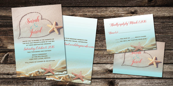 Destination Travel Beach Wedding Invite Set | Aqua Coral Hearts Sand | Tropical Ocean| Cancun Jamaica Cabo Punta Cana Mexico - idowithyouweds