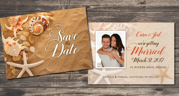 Couple Photo Save the Date Beach Theme | Starfish Sand Shells | Weddings Mexico Jamaica Cabo Punta Cana | Getting Married - idowithyouweds