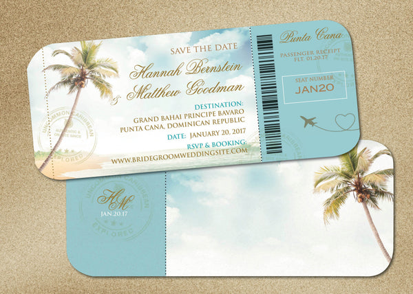 Wedding Boarding Pass Save the Date | Vintage Palms | Monogram Travel Stamps - idowithyouweds