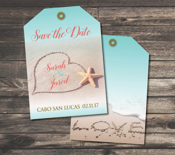 Save the Date Luggage Tags | Destination Wedding | Names in Sand | Love & Heart Sand | Aqua Turquoise Coral Tropical Wedding - idowithyouweds