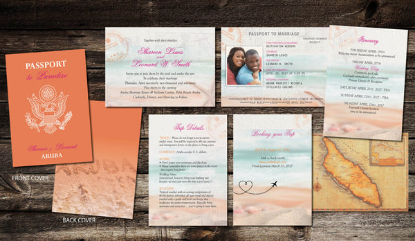 Tropical Passport Invitations Aruba Destination Beach Wedding | Bright Coral Tangerine & Fuschia | Caribbean Adventure - idowithyouweds