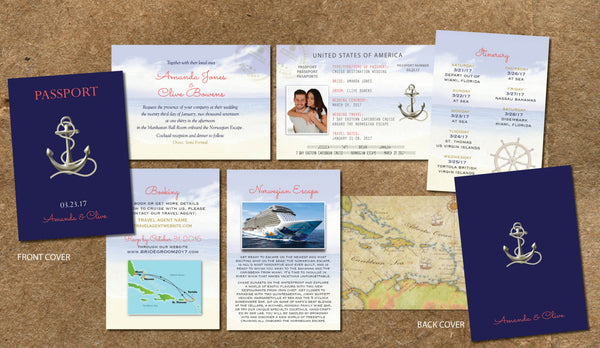 Cruise Wedding Invitation Passport Itinerary Booklet | Gold Anchor | Nautical Ocean Sail | Navy Coral | Sea & Blue Sky - idowithyouweds