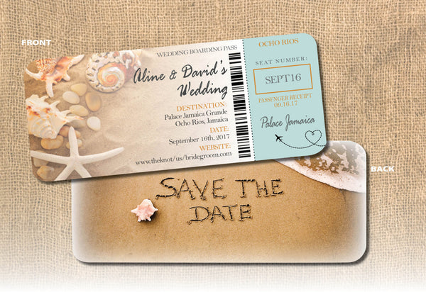 Beach Boarding Pass Save the Date | Save the Date Written in Sand | Coral Shells Starfish | Heart Airplane at Destination - idowithyouweds