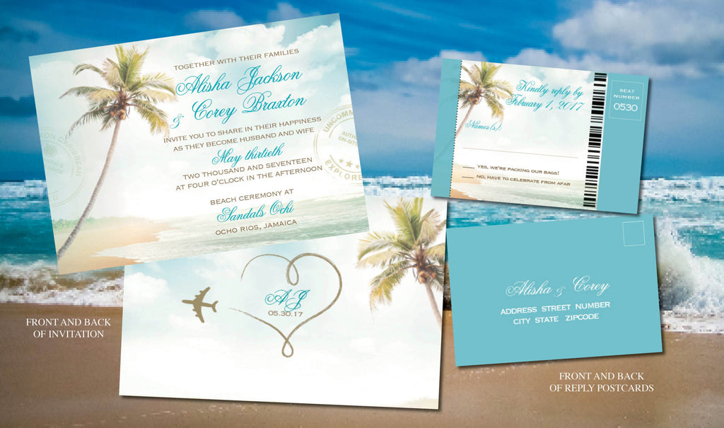 Destination Wedding Beach Ceremony Wedding Invites in Turquoise and ...
