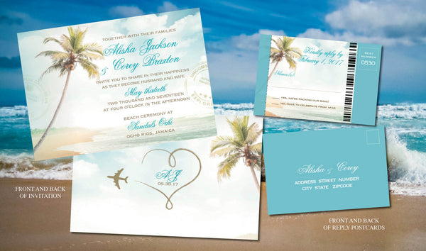 Beach Ceremony Wedding Invites in Turquouise, Gold | Destination Wedding Sand Sun Mexico Cabo Punta Cana Jamaica | Boarding pass reply - idowithyouweds