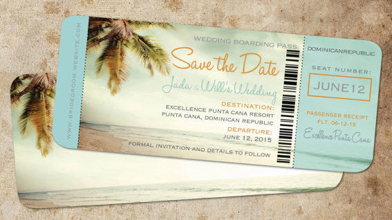 Save the Date Boarding Pass Vintage Blue | Destination Wedding Punta Cana Mexico Tropical | Palm Tree Frame - idowithyouweds
