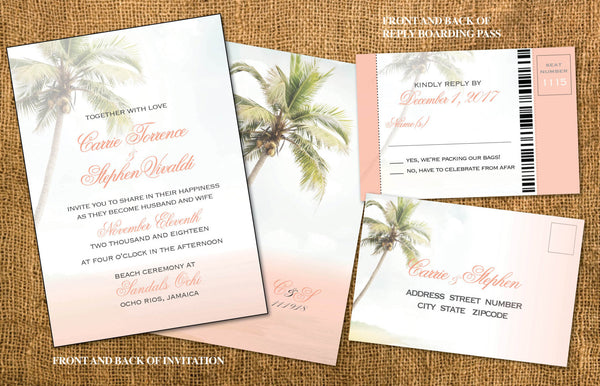 Destination Wedding in Paradise Invites | Vintage Soft Blush Palm Trees | Boarding Pass Reply | Mexico Jamaica Cabo Punta Cana - idowithyouweds