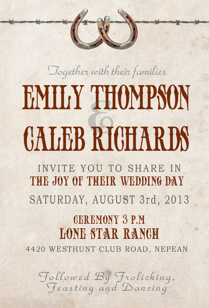 Country Rustic Aged Paper Local Wedding Invitation Set | Western Antique Lodge | Horseshoes Design | Cowboy Budget Invites - idowithyouweds