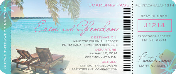 Boarding Pass Ticket Invitation for Destination Wedding | Palm Trees | Beach Chair | Aqua Seaside - idowithyouweds