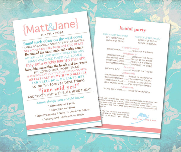 Wedding Program How We Met Coral | Itinerary | Bridal Party | Family and Friends | Ceremony Details - idowithyouweds