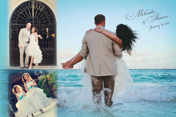 Ocean Blue Wedding Thank You Card | Jamaica Cabo Punta Cana | Photo Collage Design | Walk in water | Aqua - idowithyouweds