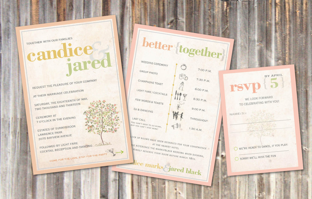 Rustic Wedding Invitations Vintage Soft Peach Sage Green  Flowering