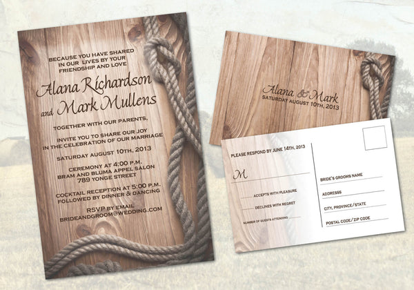 Country Western Ranch Local Wedding Invitations | Western Rustic Style Rope Border Barn Wood | Cowboy Cowgirl - idowithyouweds