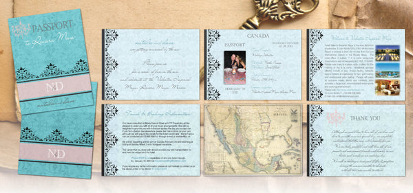 Vintage Passport Destination Wedding Invitations | Aqua Blush | Cabo Jamaica Mexico Dominican | Full Custom - idowithyouweds