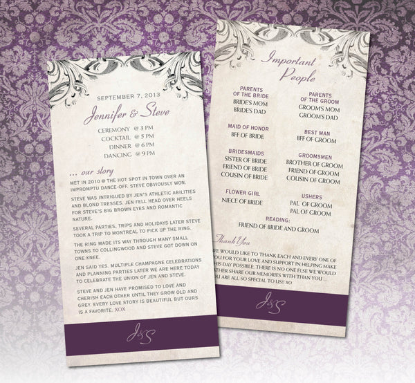 Wedding Program Eggplant Old Fashioned Love Story | Traditional |Aged Paper - idowithyouweds