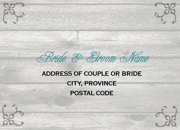 Country Cottage Chic Local Wedding Invitations | Grey Barn Wood with Teal Accents | Reply Postcard | Big City Western - idowithyouweds