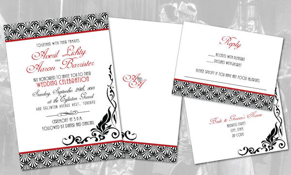 Retro Vintage 1930 Weddings Art Deco Speakeasy Local Invitation Set | Black White Red | Gatsby Fonts | Monogram - idowithyouweds