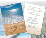 Wedding Travel Invites | Hearts Sand Love Destination | Ocean Vew | Save the Dates - idowithyouweds