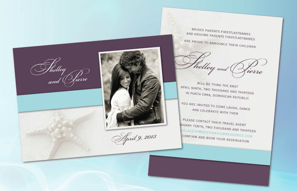 Eggplant and Aqua Photo Destination Wedding Invites | White Starfish | Engagement Photos | Punta Cana | Mexico - idowithyouweds