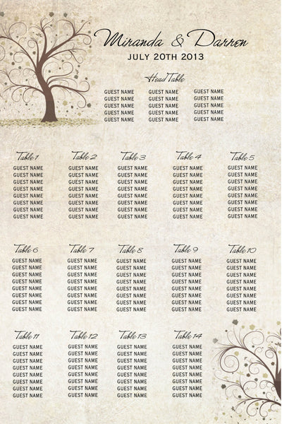 Creative Seating Charts Four Styles | Branches Fall | Birds | Winter Snowflakes - idowithyouweds