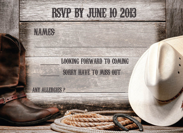 Country Rustic Local Wedding Invitation Set | Cowboy Hat | Barn Wood | Cowboy Hat | Home on the Ranch - idowithyouweds