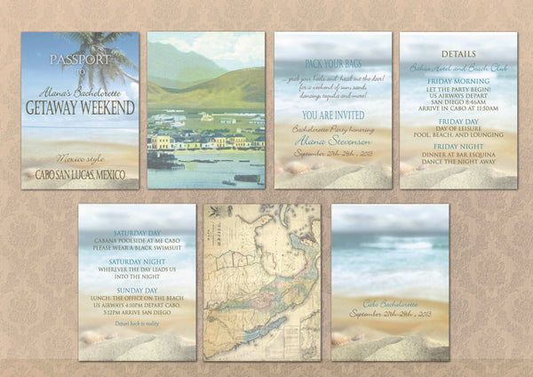 Bachelorette Itinerary Paradise Passport Invites | Girls Getaway Party | Itinerary Programs - idowithyouweds