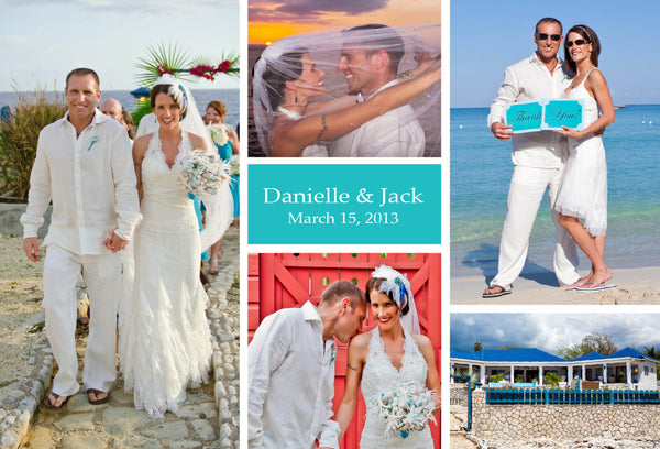 Aqua Blue Destination Thank You Cards | Photo Collage from Wedding | Jamaica Cabo Mexico - idowithyouweds