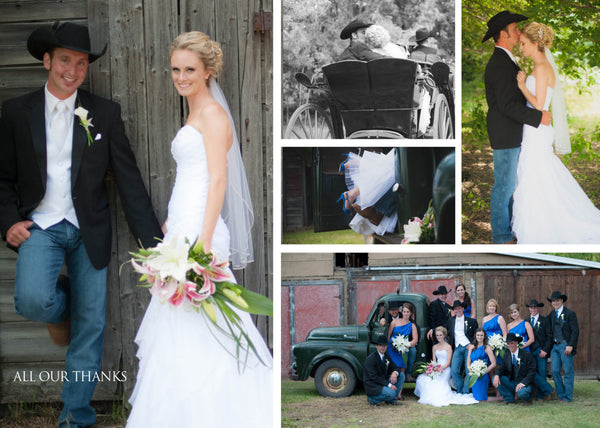 Country Classic Thank You Wedding Photo Cards | Western Rustic Natural | Carriage Ride - idowithyouweds